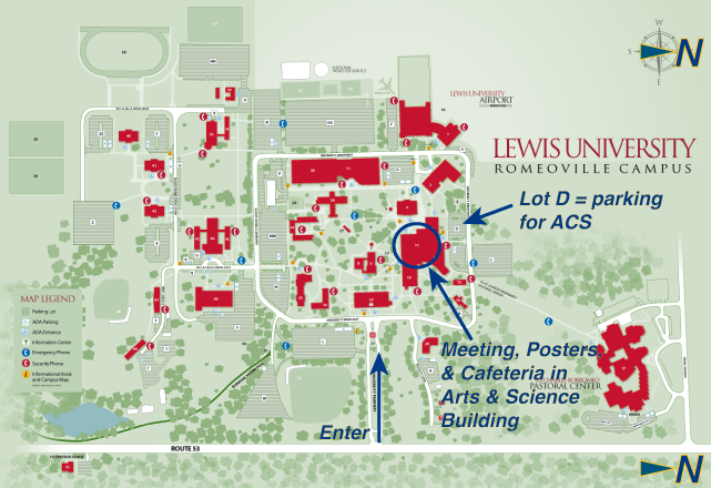 Map to Lewis University