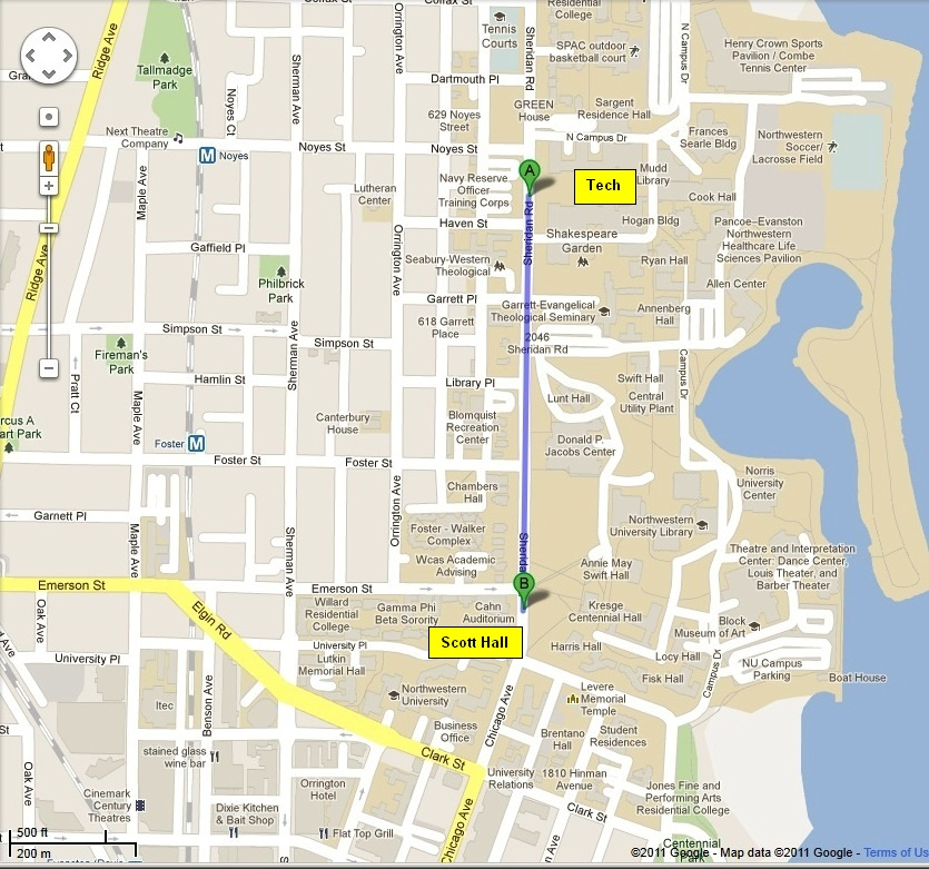 Northwestern University Evanston Campus Map.Map To Northwestern University Technological Institute